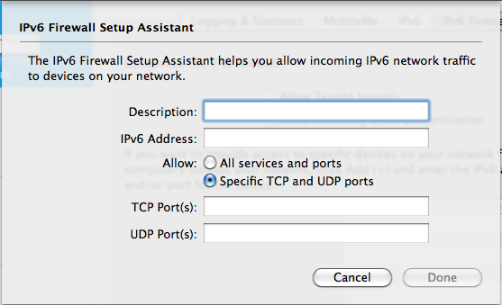 IPv6 Firewall exceptions